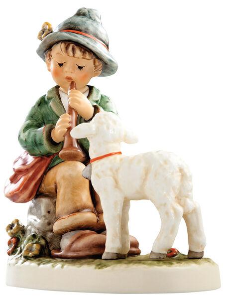 "Hummel Flute Song 407 NIB Shepherd Boy Playing Flute with Lamb  6"""