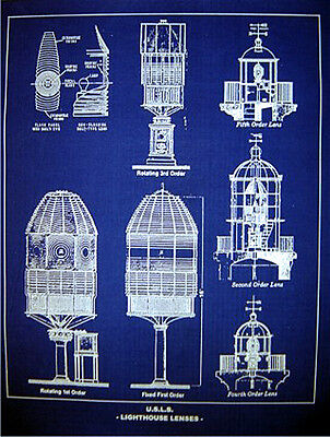 Vintage LIGHTHOUSE LENSE USLHS Blueprint Plan 18