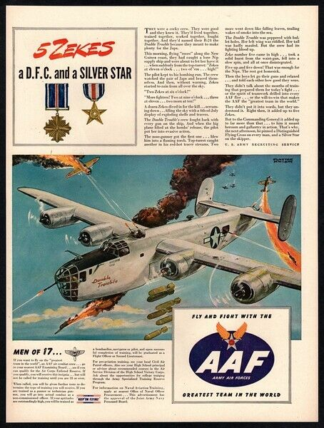 1944 AAF WWII Army & Air Force Recruitment - B-24 Bomber Airplane  VINTAGE AD
