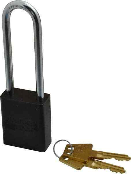 "American Lock Keyed Alike Lockout Padlock 3"" Shackle Clearance, 1/4"" Shackle ..."