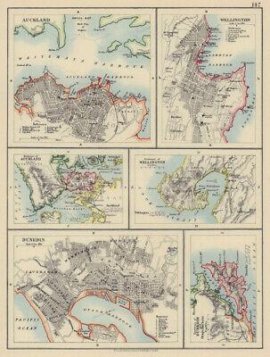 NEW ZEALAND CITIES. Auckland Wellington Dunedin Otago Harbour. JOHNSTON 1901 map