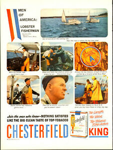 1959 full page ad for Chesterfield Cigrettes lobster fishermen