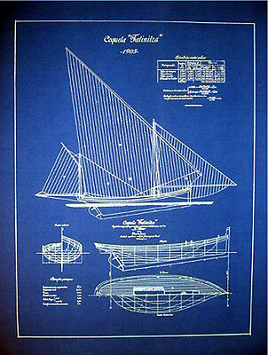 "Vintage Sailboat Yacht 1905 Blueprint Plan Drawing 18"" x 24""  (011)"
