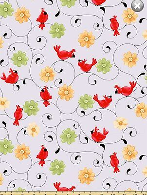 Susybee's Bird Floral Swirl 100% cotton fabric by the yard