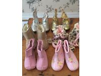 JobLot(18 p's) Beautiful boots and shoes and slippers O-3/3-6/6-9mth