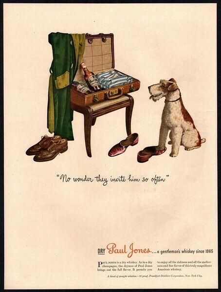 1944 PAUL JONES Whiskey - Cute TERRIER Puppy Dog - Bottles Suitcase  VINTAGE AD