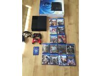 PS4 2 genuine controllers, headset and 14 games