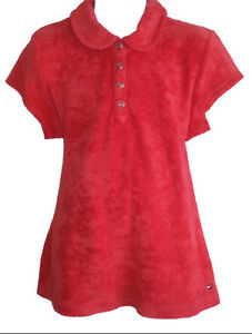 TOMMY HILFIGER Red Terry Cloth Polo Top - Girls Med - NEW