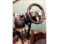 Logitech G27 Racing USB Wheel Set & custom seat/stand including PS3