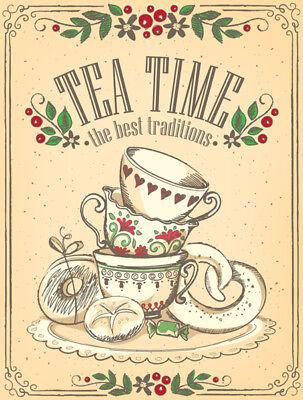 TEA TIME VINTAGE METAL SIGN, RETRO PLAQUE, KITCHEN ART, CAFE DINER, SHABBY CHIC