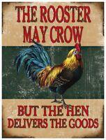 Rooster Puede Crow, Divertido Comedia Pollo, Casa Pub , Medio Metal / Letrero De -  - ebay.es