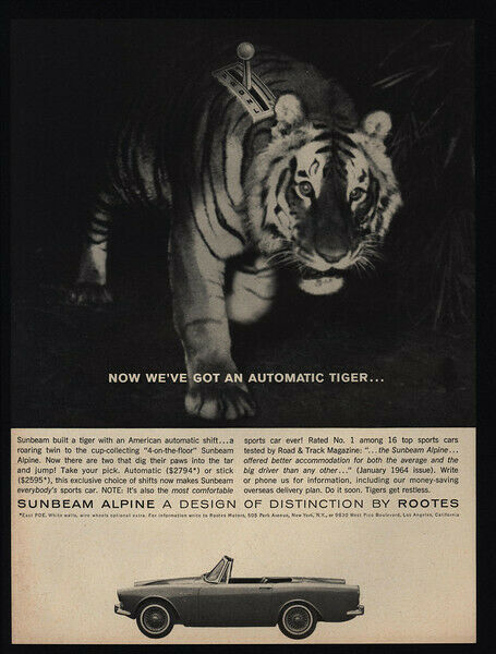 1964 SUNBEAM ALPINE Convertible Sports Car - Tiger - Rootes - VINTAGE AD