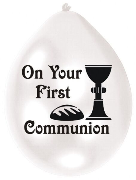 On Your First Communion - Pack of 10 White Latex Party Balloons - 995597