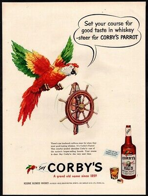 1951 CORBY'S Whiskey - - Alcohol - Nautical Ship Wheel - Color VINTAGE AD