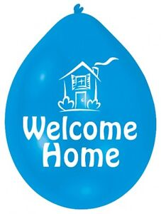 10 Welcome Home Latex Party Balloons Assorted Colours