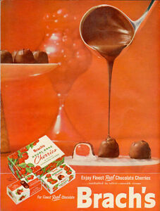 1958 full-page color ad for Brach's chocolate covered cherries