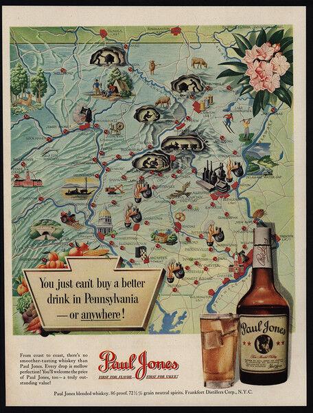 1950 PENNSYLVANIA Map - PAUL JONES Whiskey - VINTAGE AD