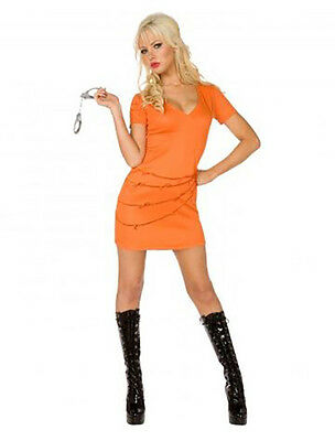 Womens Sexy Prisoner Convict Orange Jumpsuit Fancy Dress Costume Female Inmate