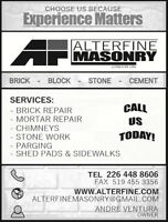╠╩╦╩╦╩╦ ALTERFINE MASONRY ╩╦╩╦╩╦╣ Experience Matters.