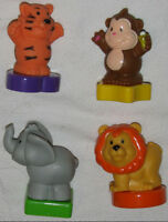 4 Fisher Price Little People Animals on shaped bases