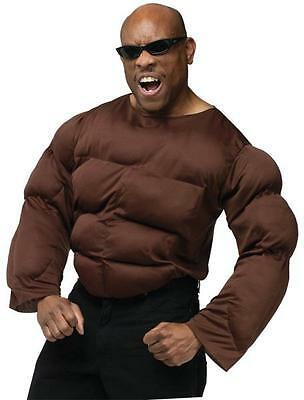African American Brown Muscle Chest & Arms Shirt Costume FW8022](Muscle Arms Costume)