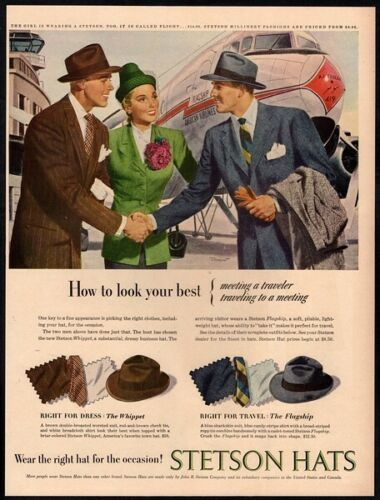 1947 STETSON Hats - AMERICAN AIRLINES - Airplane - Dapper Men VINTAGE AD