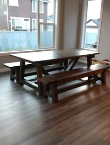 Rustic dining table and benches