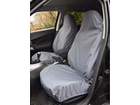 FRONT PAIR OF AIRBAG COMPATIBLE CAR & VAN SEAT COVERS - Grey, brand new