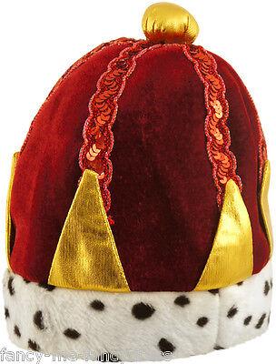 Damen Herren Erwachsene Rot König Königin Kostüm Kleid Outfit Krone Hut - Rote Königin Kostüm Zubehör