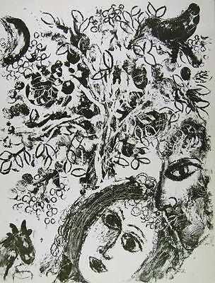 Marc Chagall - Couple Besides Tree (M.292) - Original Mourlot Color Lithograph