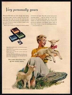 "1950 KOTEX Kleenex - Jingle Reference to ""Mary Had A Little Lamb"" VINTAGE AD"