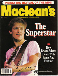 Macleans Mag July 1987 Cover Autog by Bryan Adams