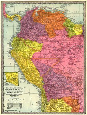 NW SOUTH AMERICA. Colombia Venezuela Ecuador Peru Bolivia Brazil. Lima 1907 map