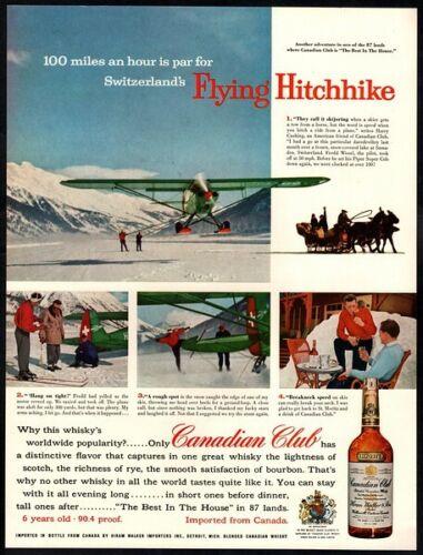 1957 CANADIAN CLUB Whiskey - Switzerland- Flying Hitchhike- Skier