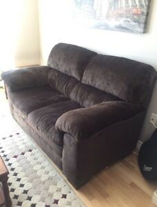 Selling brown cloth sofas with free coffee table !etc