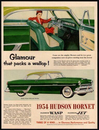 1954 HUDSON Hornet Hollywood Hardtop Green 2 Door Retro Car  VINTAGE AD