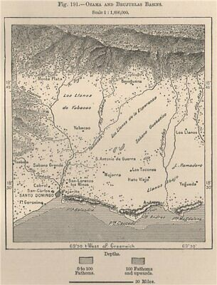 Ozama and Brujuelas Basins. Dominican Republic. Hispaniola 1885 old map