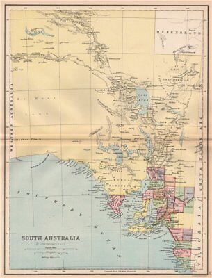 SOUTH AUSTRALIA. State map shows 24 counties. Railways. Adelaide 1878 old