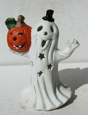 Ghost Figurine Holding Pumpkin Black Hat Ceramic-Porcelain Tea Light Holder-CUTE