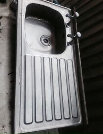Nice Stainless Steel Kitchen Sink With Taps Good Condition Can Deliver For £5