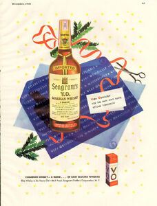 Large (10 1/2 by 13 ½ ) 1948 color ad for Seagram's VO