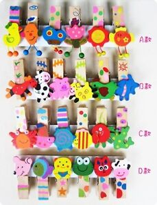 24-x-Animal-Wooden-Handpainted-Clip-Wood-Pegs-Kids-Party-Favor-Supply-Bag-CLP007