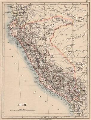 PERU. Border as before Peru-Ecuador war (1941). JOHNSTON 1895 old antique map