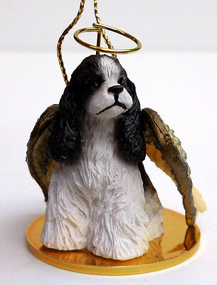 COCKER SPANIEL, BLAK/WHIT ANGEL DOG ORNAMENT CONV. CONCEPTS,TINY ONES,ITEMDTA15E