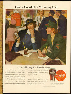 Large Wartime 1944 full-page color ad for Coca-Cola