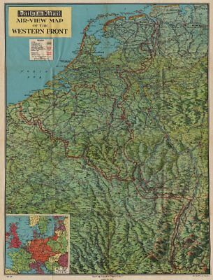 'WESTERN FRONT' 1940 bird's eye view before invasion of France.WW2 1940 map