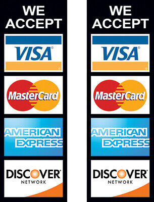 2 Pack - We Accept Credit Card Sign Sticker Decal Store Window Visa 3x9 Kb