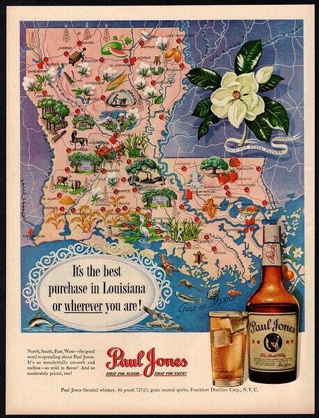 1950 PAUL JONES Whiskey - Gulf Of Mexico - LOUISIANA Map - Magnolia VINTAGE AD