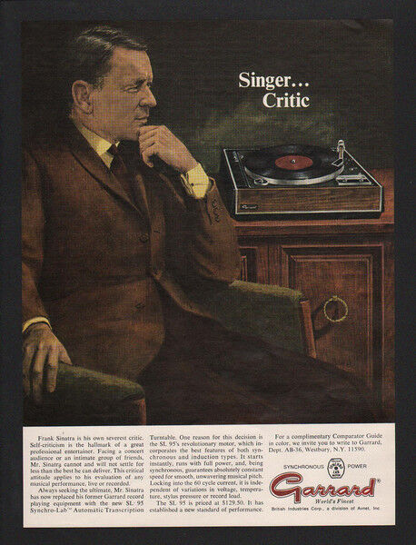 1968 FRANK SINATRA - Singer - Critic - GARRARD SL 95 Turntable Art VINTAGE AD