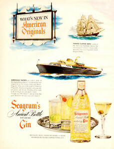 Large (13 ¼ by 10 ¼ ) Seagram's Ancient Bottle Gin 1950 print Ad